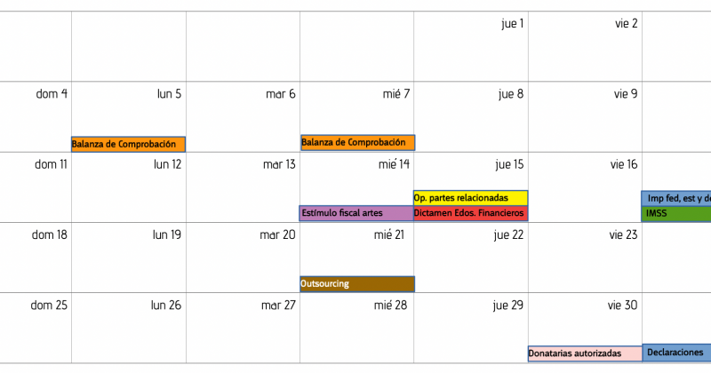 Calendario Fiscal Julio 2021
